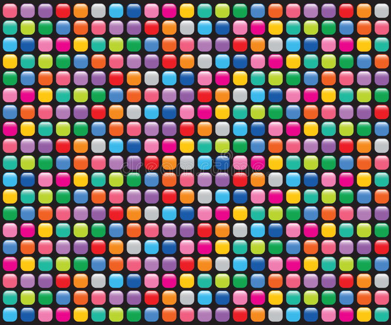 O mosaico do arco-íris abotoa o preto ilustração stock