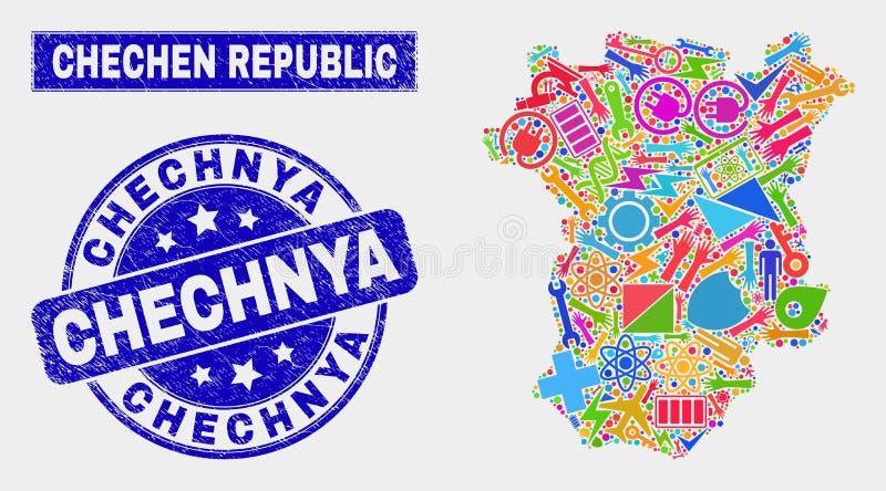 O mosaico utiliza ferramentas o mapa checheno da república e o selo riscado do selo de Chechnya ilustração stock