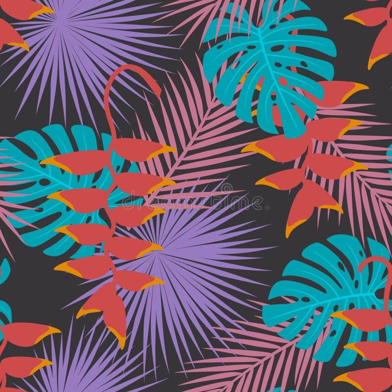 O mostera exótico tropical da palma deixa a arte de suspensão da flor do heliconia o teste padrão sem emenda ilustração royalty free