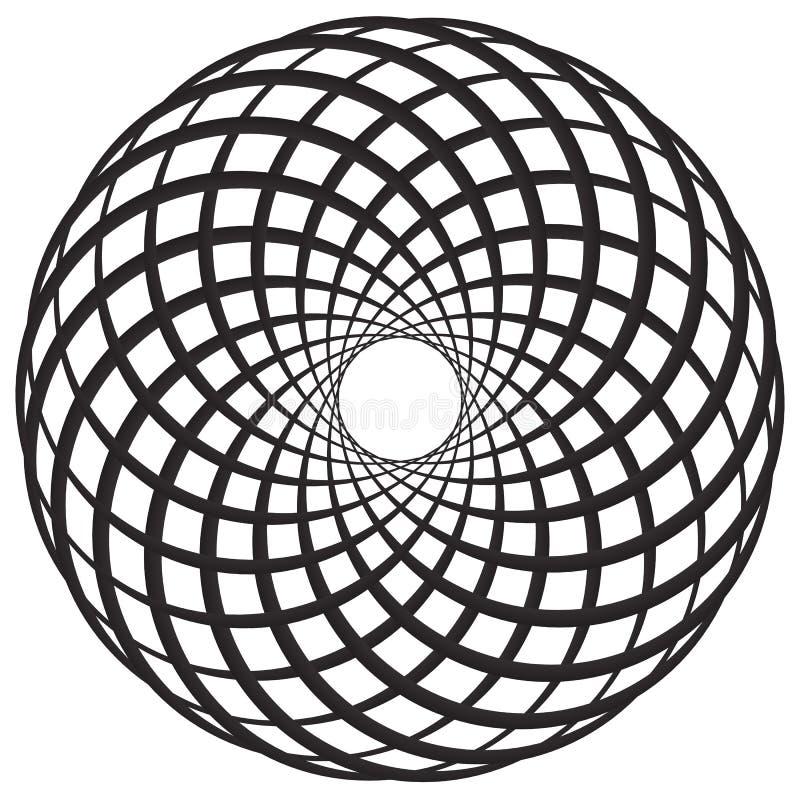 O motivo geométrico circular, elemento, círculos concêntricos abstrai s ilustração do vetor
