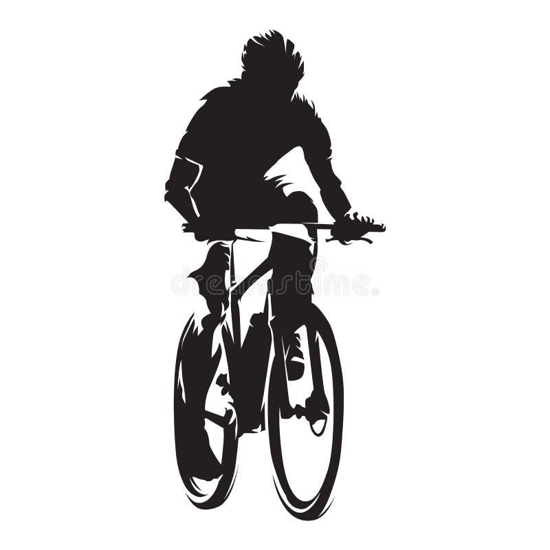 O motociclista da montanha, ciclismo, isolou a silhueta do vetor ilustração royalty free
