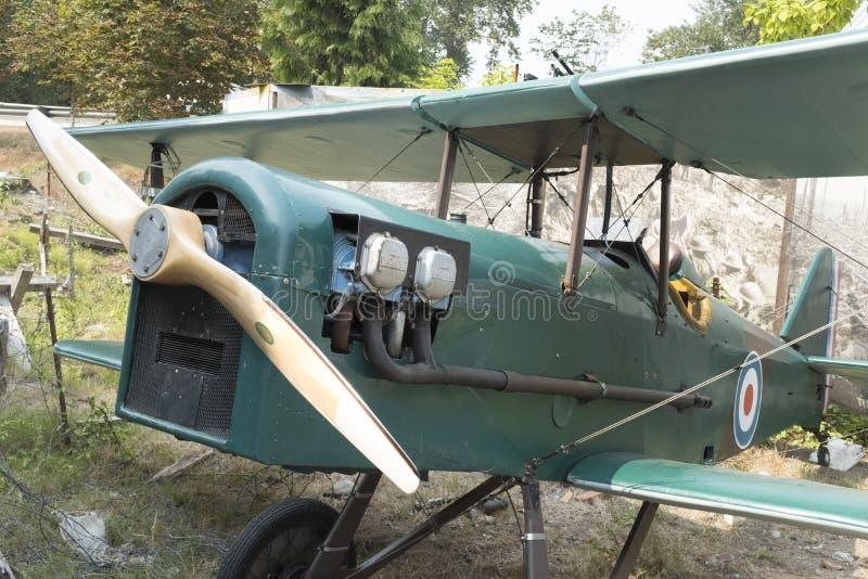 O motor de uma réplica SE5 de um biplano de Royal Air Force fotos de stock