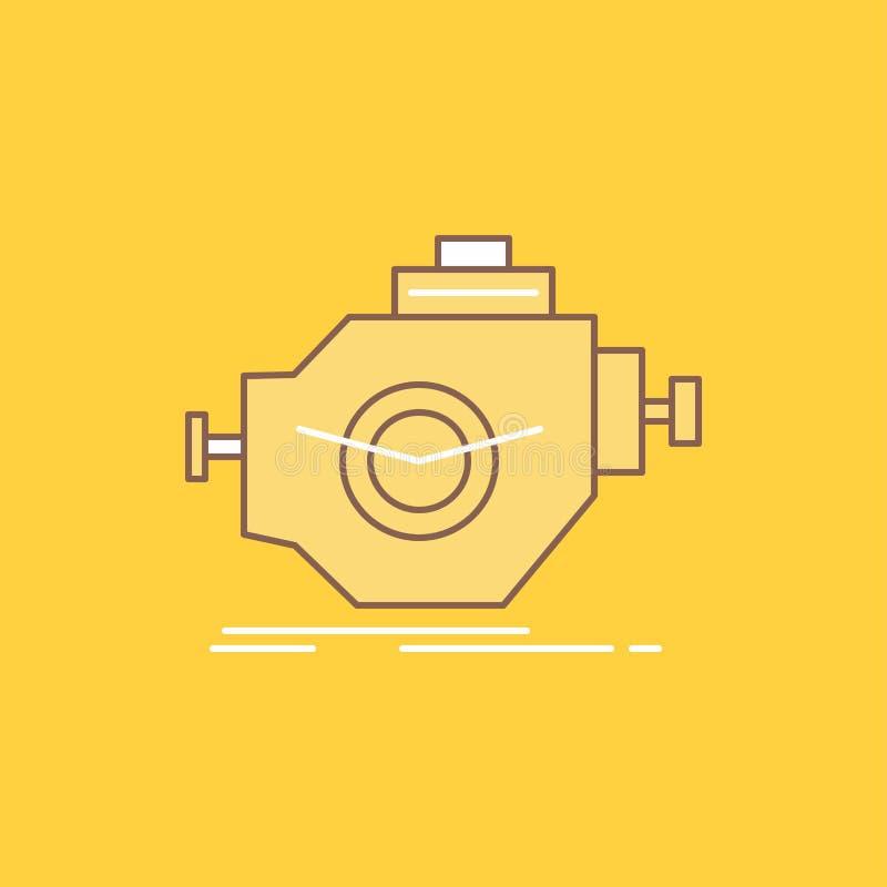 O motor, indústria, máquina, motor, linha lisa do desempenho encheu o ícone Bot?o bonito do logotipo sobre o fundo amarelo para U ilustração royalty free