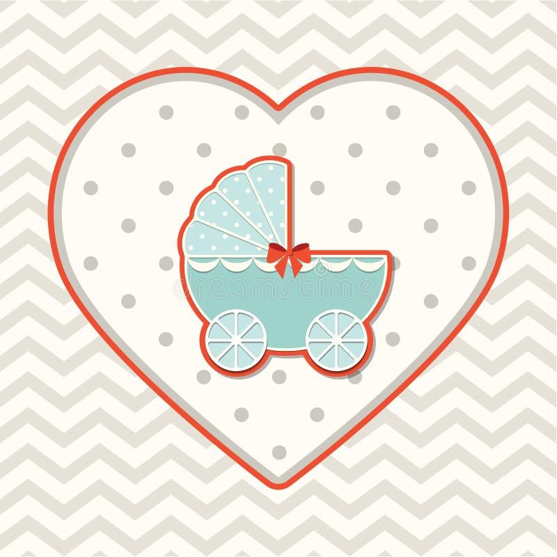 O motriz abstrato com carrinho de criança e o coração dão forma no fundo da viga, ilustração ilustração stock