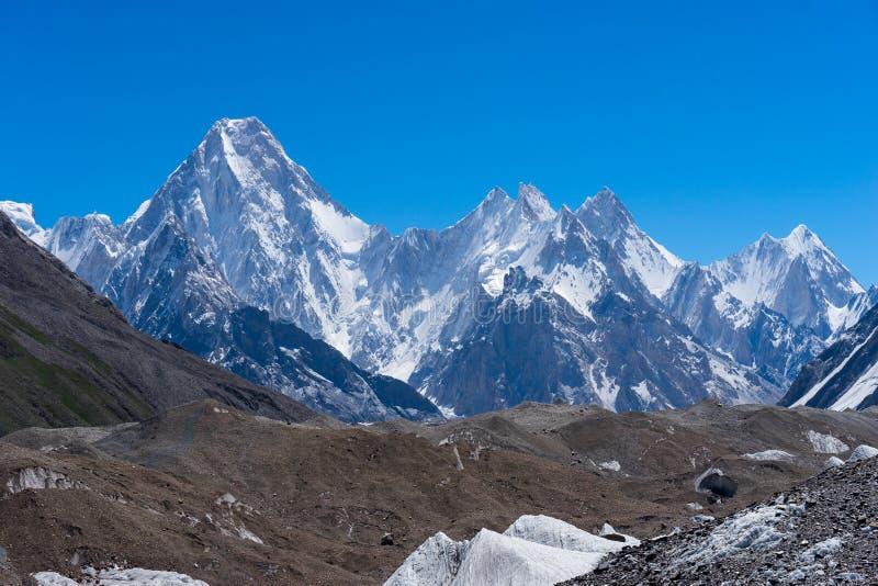 O moutain do maciço de Gasherbrum com muitos repica, Skardu, Gilgit, Pakist fotografia de stock