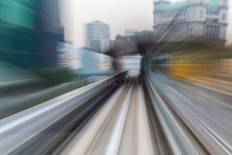 O movimento abstrato borrou túnel movente do interior do trem foto de stock