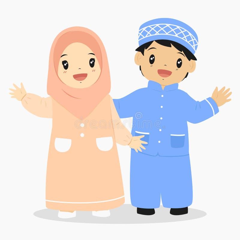 O muçulmano caçoa o vetor ilustração do vetor