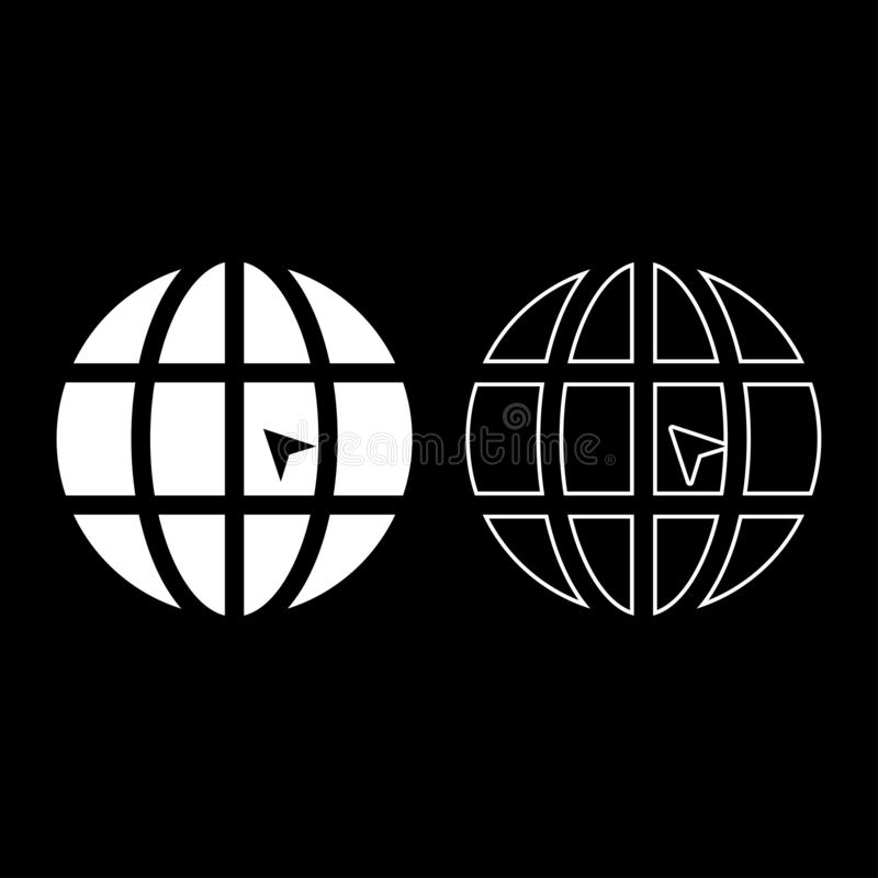 O mundo com ícone do Web site do conceito do clique do mundo da seta ajustou a imagem simples do estilo liso branco da ilustração ilustração royalty free
