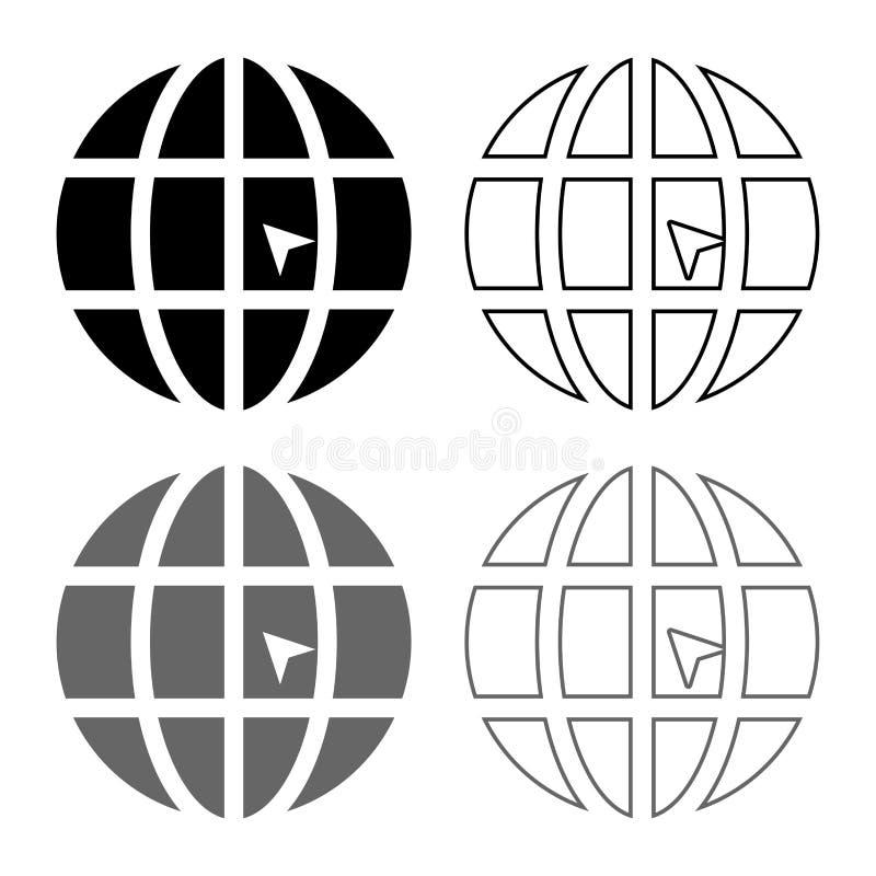 O mundo com ícone do Web site do conceito do clique do mundo da seta ajustou a imagem simples do estilo liso preto cinzento do es ilustração stock