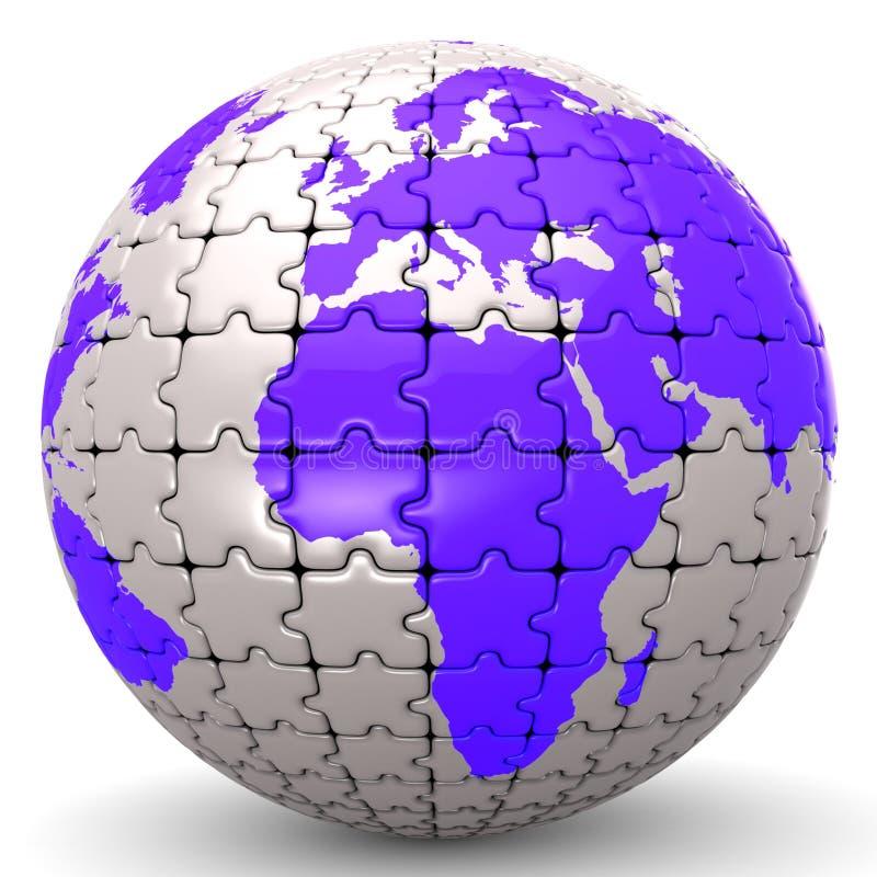 O mundo do globo significam o enigma de serra de vaivém e global ilustração do vetor