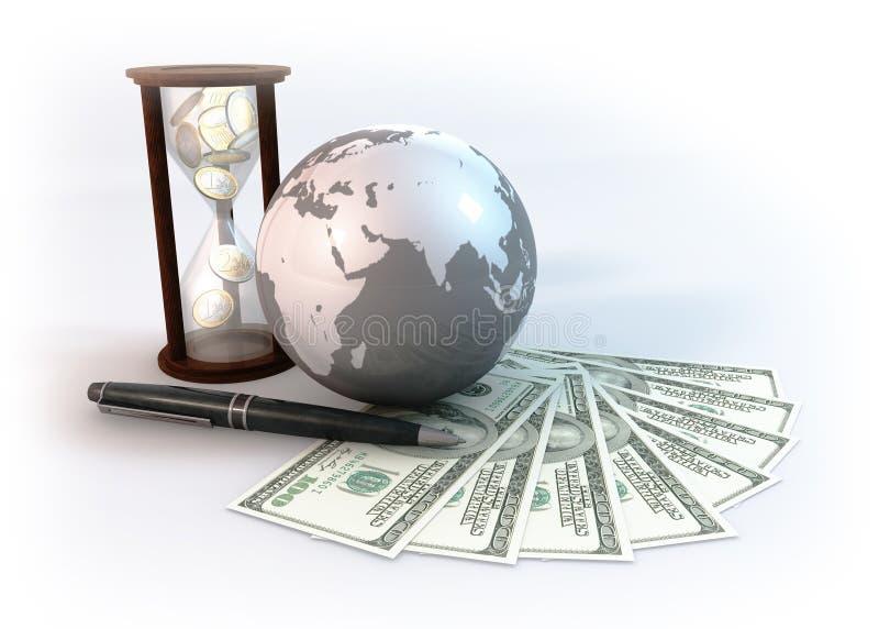 O mundo do negócio é fundo do branco do tempo ilustração do vetor