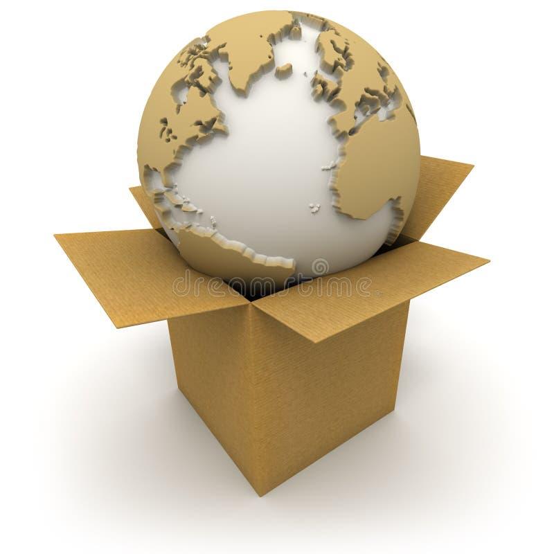Download O mundo em uma caixa ilustração stock. Ilustração de entrega - 12802635