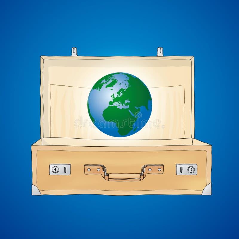 O mundo em uma mala de viagem ilustração do vetor