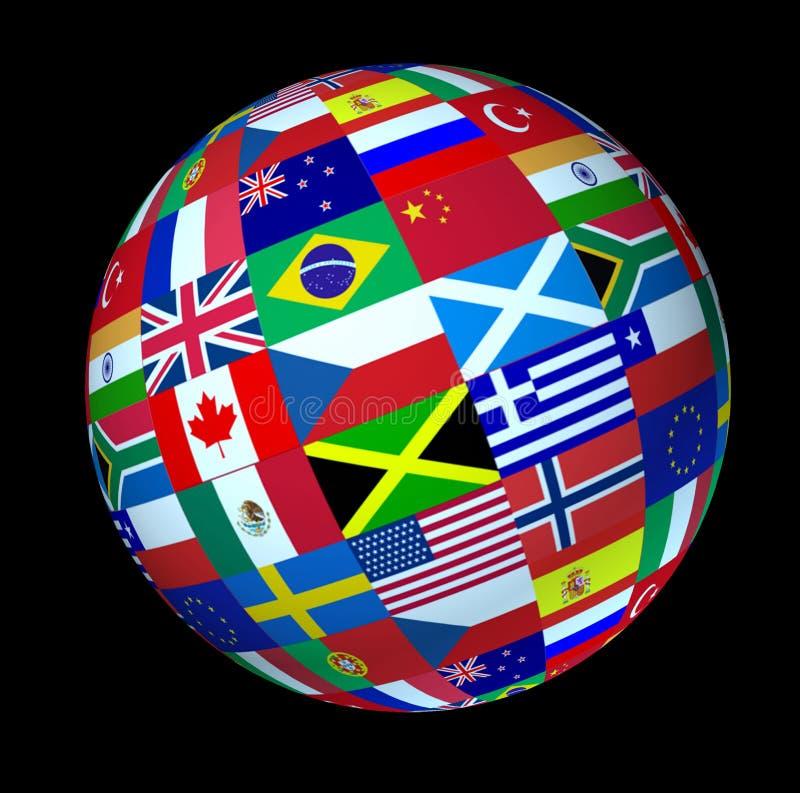 O mundo global embandeira a esfera fotos de stock royalty free