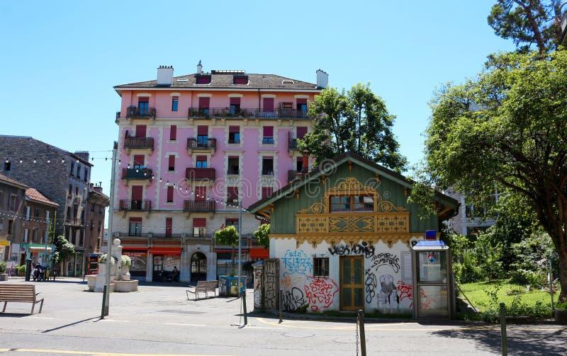 O mundo imaginário de Smurfs, Genebra, Suíça imagens de stock royalty free
