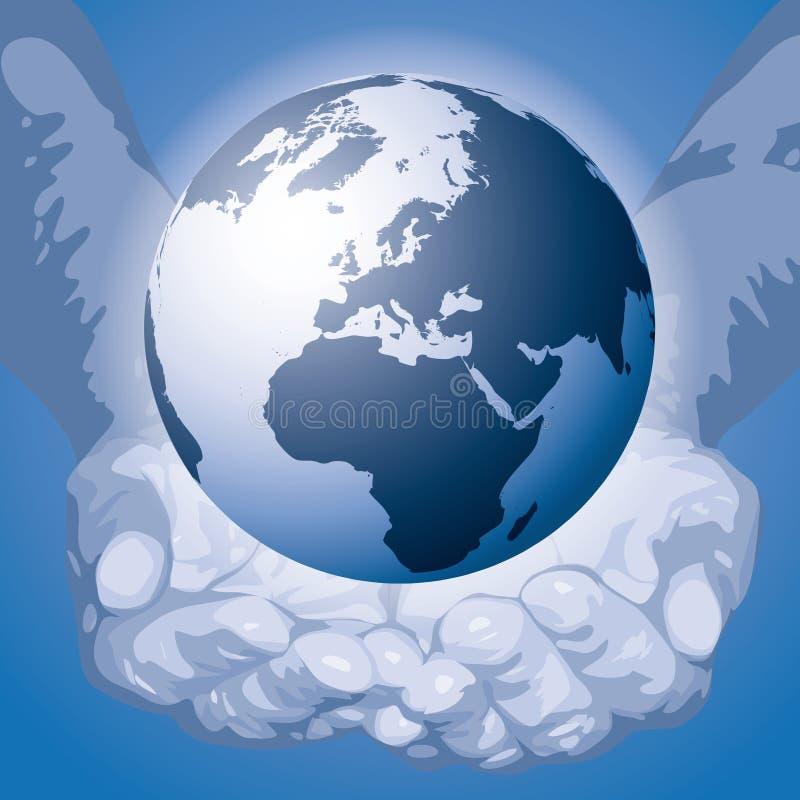 O mundo nas mãos (vetor) ilustração royalty free
