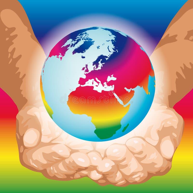 O mundo nas mãos (vetor) ilustração do vetor