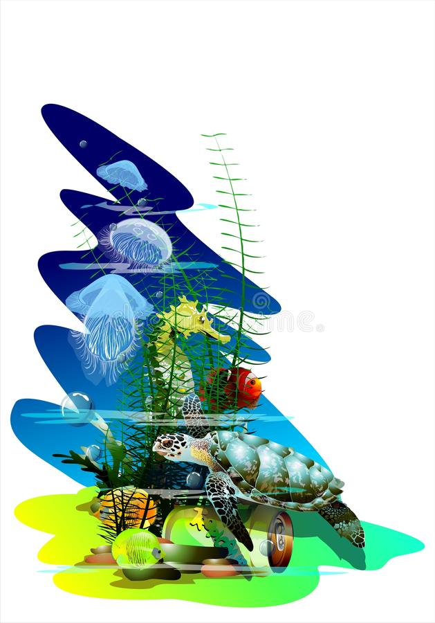 O mundo subaquático (Vetor) ilustração stock
