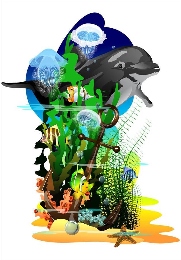 O mundo subaquático (Vetor) ilustração do vetor