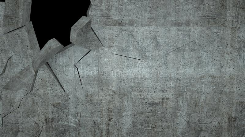O muro de cimento com destruição, 3 d rende ilustração royalty free