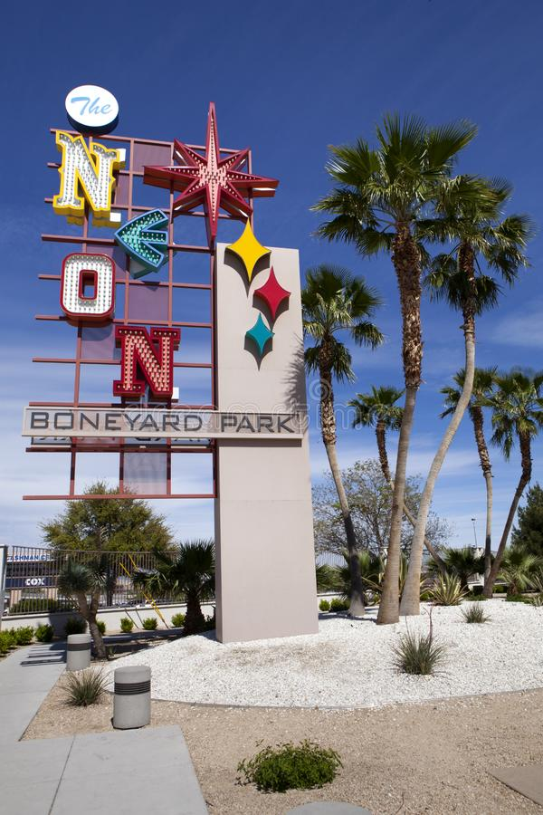 O museu do sinal de néon em Las Vegas, Nevada imagens de stock royalty free