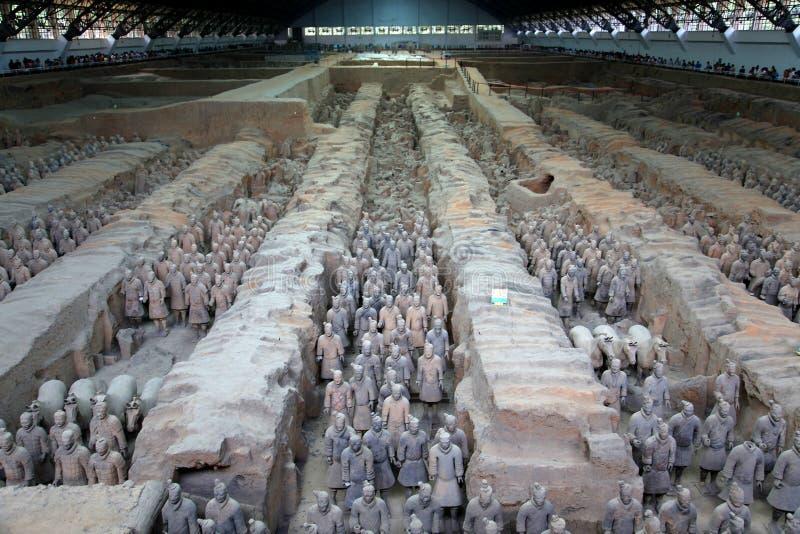 O museu dos guerreiros da terracota na cidade de Xian imagem de stock