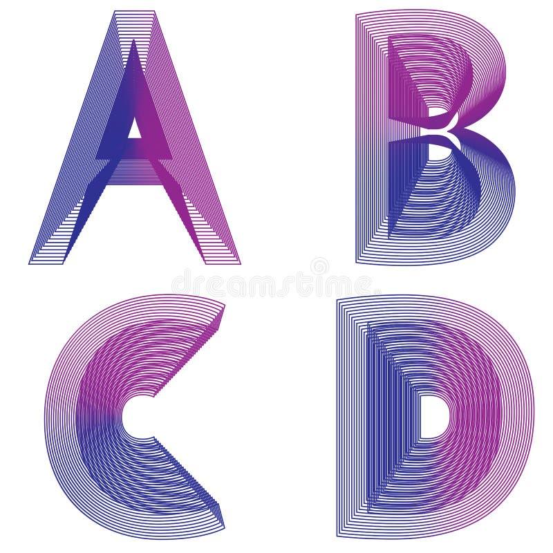 O néon abstrato da letra do alfabeto ABCD alinha o vetor ilustração stock