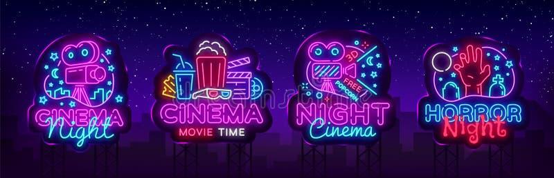 O néon ajustado da noite do cinema canta, etiqueta e logotipo Molde, logotipo, emblema e etiqueta do projeto da bandeira do cinem ilustração do vetor