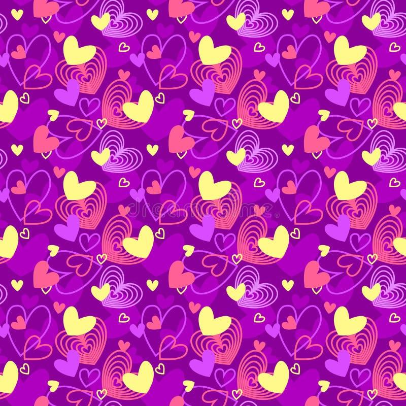 O néon colore o teste padrão sem emenda do amor das formas do coração ilustração do vetor