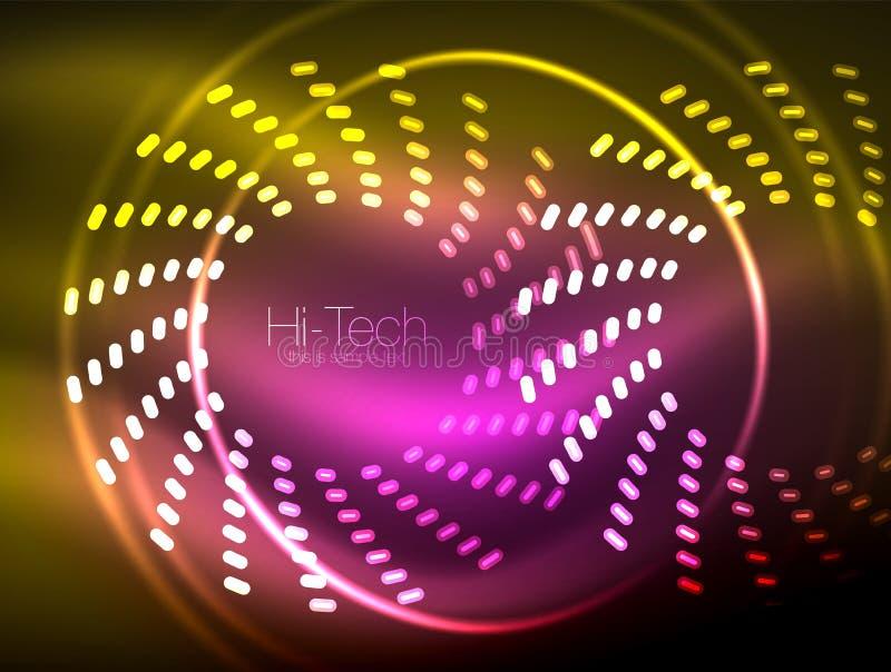 O néon de incandescência pontilhou o fundo abstrato da forma, projeto de conceito brilhante da tecnologia, fundo geométrico do es ilustração do vetor