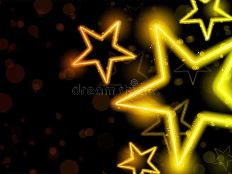 O néon de incandescência Stars o fundo ilustração do vetor