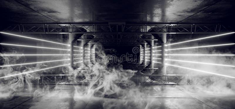 O néon de Sci Fi do estrangeiro do fumo conduziu as linhas claras escuras de incandescência brancas do laser no Grunge moderno fu foto de stock
