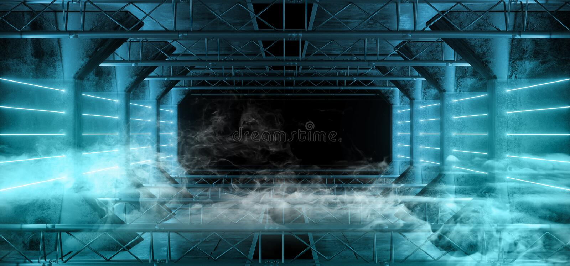 O néon de Sci Fi do estrangeiro do fumo conduziu linhas claras escuras de incandescência azuis do laser no Grunge moderno futuris imagens de stock royalty free