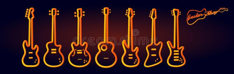 O néon dos instrumentos musicais tubed o desempenho abstrato do grupo de rock do conceito de projeto da silhueta ilustração stock