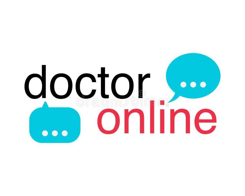 O néon medica o sinal móvel do app com ícone da mensagem Logotipo em linha do doutor no fundo branco Funcionamento móvel do app d ilustração do vetor