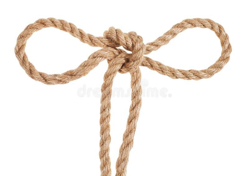 o nó do tolo de tom amarrado na corda grossa da juta isolada fotografia de stock