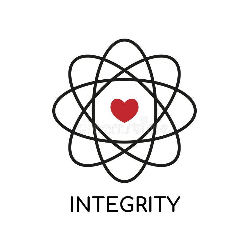 O núcleo avalia a ilustração do vetor Transportando o ícone preto da integridade e da finalidade no fundo branco Símbolo isolado  ilustração royalty free
