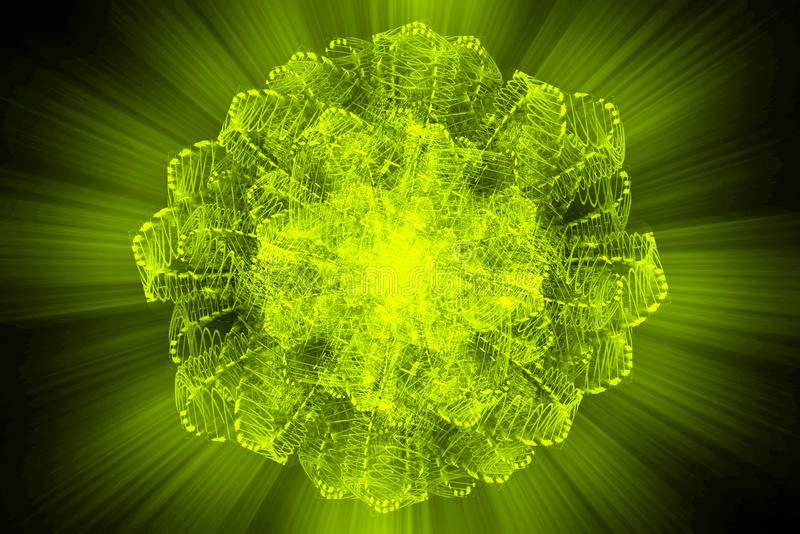 O núcleo de Atom Nuclear explode a ciência da luz da radiação do raio ilustração stock