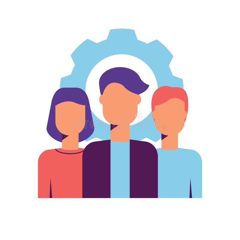 O núcleo moderno avalia o ícone com a equipe dos profissionais ilustração do vetor