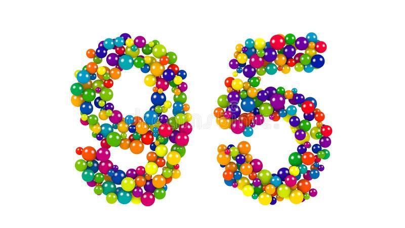 O número brilhante colorido 95 formou de esferas pequenas ilustração royalty free