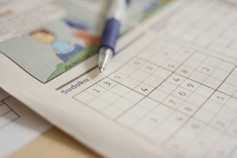 O número coloca Sudoku com lápis fotografia de stock
