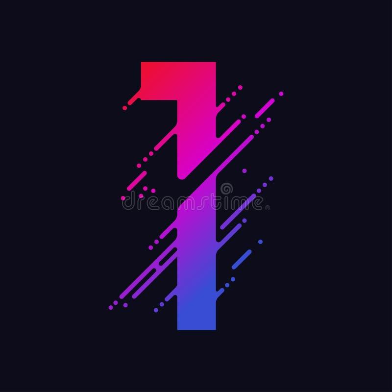 O número com respingo líquido e gotas, dígitos coloridos abstratos, cobre o símbolo matemático Vetor ilustração stock