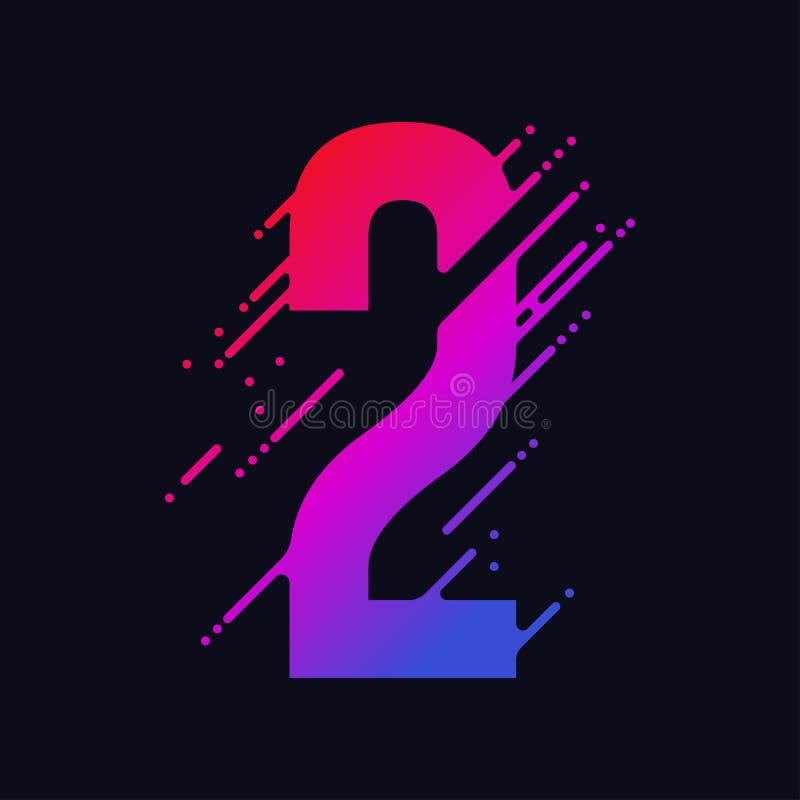 O número com respingo líquido e gotas, dígitos coloridos abstratos, cobre o símbolo matemático Vetor ilustração do vetor