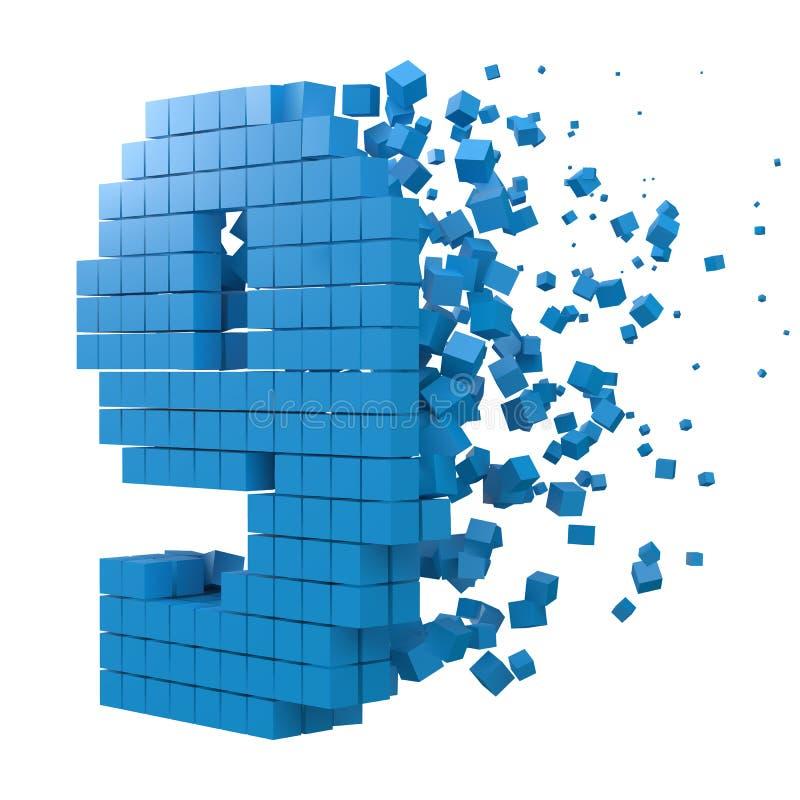 O número 9 deu forma ao bloco de dados versão com cubos azuis ilustra??o do vetor do estilo do pixel 3d ilustração stock