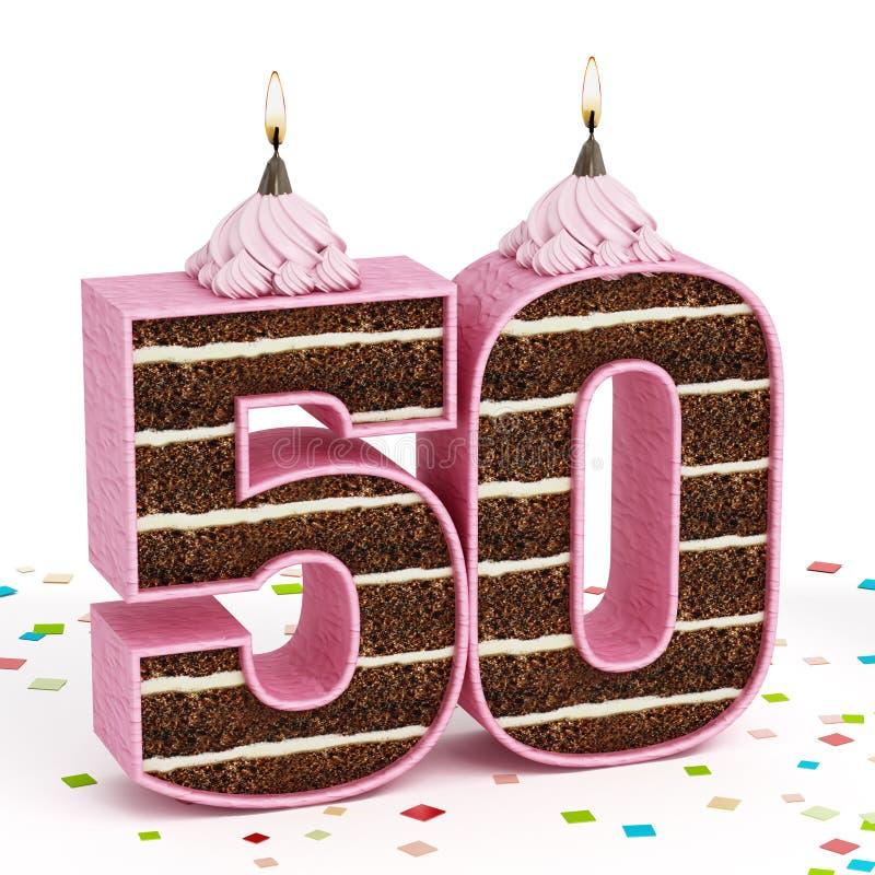 O número 50 deu forma ao bolo de aniversário do chocolate com vela iluminada ilustração royalty free