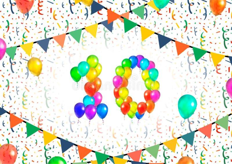 O número dez compôs dos balões coloridos no fundo branco com os confetes ilustração stock