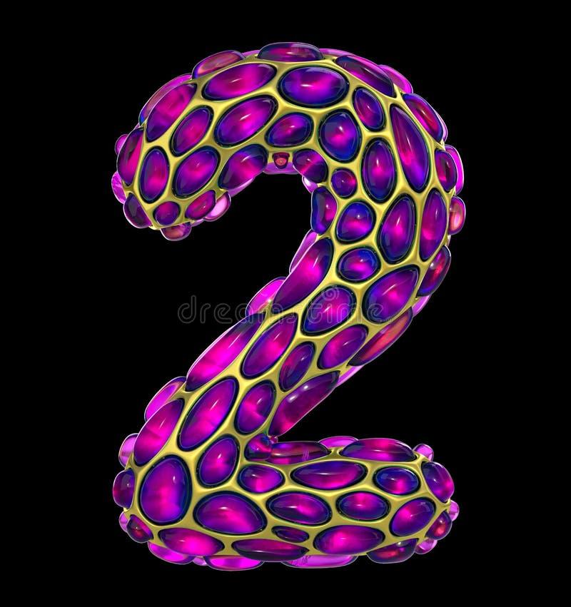 O número 2 dois fez de 3D metálico de brilho dourado com o vidro cor-de-rosa isolado no fundo preto imagens de stock royalty free
