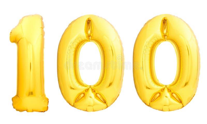 O número dourado 100 cem fez do balão inflável imagens de stock