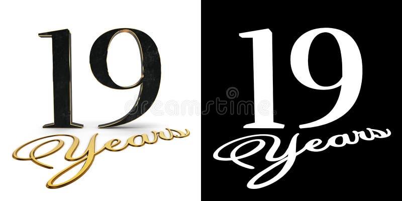 O número dourado dezenove numera 19 e os anos da inscrição com sombra da gota e canal alfa ilustração 3D ilustração royalty free