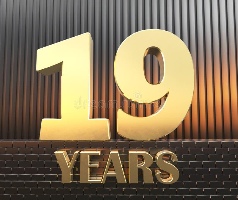 O número dourado dezenove numera 19 e os anos da palavra na perspectiva dos parallelepipeds retangulares do metal no ilustração do vetor